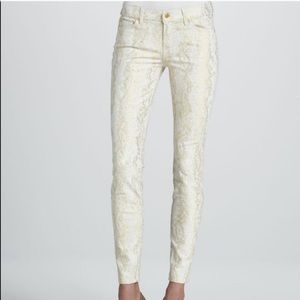 7 For All Mankind Gold Brocade Snakeskin Jeans